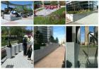 Flamed Pavers, Bench, Planter, Kerb & Rock Face Bench Wall