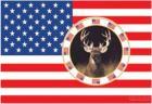 Historical-US Star & Stripes Flag-U. S. A. W/ Deer