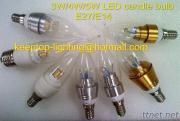 Ceramic/Aluminium LED Candle Bulb, 3W 4W 5W COB LED Candle Light E27 E14