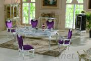 New Classic Dining Room Furnitures - Silver Leaf Gilding Luxury Dining Set
