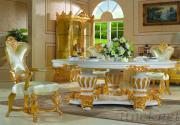 Handwork Gilding Golden Foil Royalty Dining Table