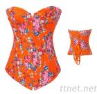 Floral Orange Fantasy Denim Corset