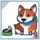 Bordado con la etiqueta engomada del Rhinestone fijada - perro Shiba con el hueso de la carne