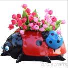 polyresin Ladybug statue animal planter for garden decoration flower pot
