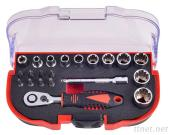 21Pcs 1/4'Dr. 60T Spline Socket Wrench And Bit Set