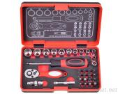 "32Pcs 1/4""Dr. 72T Spline Socket Wrench And Bit Set"