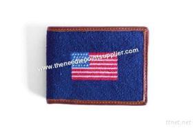 De Portefeuille van de Speldepunt van de Vlag van Amerika, de Echte Portefeuille van het Leer