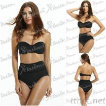 New Fashion Black Women Bikini High Waist
