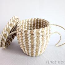 White Seagrass Storage Basket