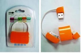 Sample 19  Orange USB A male & I-PHONE