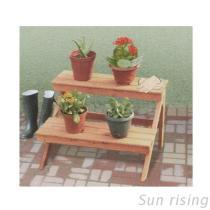 2つの層の屋外の植木鉢の棚