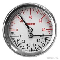 Termo-manometro TMG-SC della cassa di acciaio inossidabile