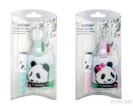 Panda Bag Tag W/Mini Ball Pen Set In (Green & Pink)