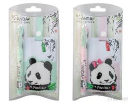 Panda Bag Tag With Pen Set (Green & Pink)