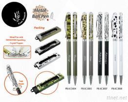 Metal Pen With Swarovski Sparkling Crystal Topper - 5 Designs