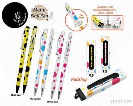 Metal Pen With Swarovski Sparkling Crystal Topper