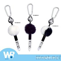 Panda Pom Pom Ballpoint Pen W/Carabiner Hook+Retractable String