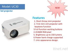 Nagelneuer Minimittel-Projektor UC30, Schwarzweiss-Farbe