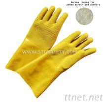 籠手の頑丈な乳液の上塗を施してある手袋