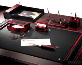 로즈 목제 가죽 7 - PC 책상 세트