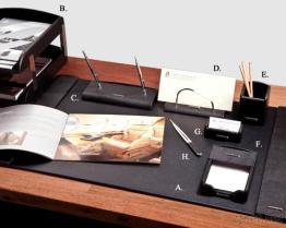 호화스러운 까만 가죽 8 PC 책상 세트
