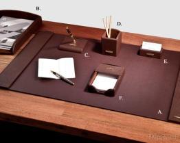 Luxury Brown Leather 6-Pc Desk Set
