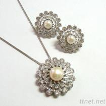 Pearl & Clear CZ Flower Pendant And Earrings Set