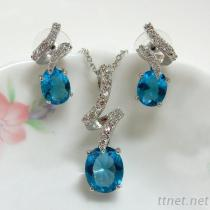 Oval Blue Color Pendant And Earrings Jewelry Set