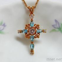 Aqua Color Cross Pendant