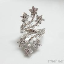 CZ & Pearl Flower Ring