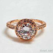 Rose Gold Round Diamond Halo Engagement Ring