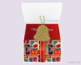 Kerstkaart met de Flarden van het Ornament/van het Borduurwerk van Kerstmis