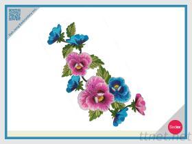 수를 놓은 헝겊 조각 - 꽃