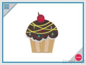 Embroidery With Rhinestone Patch-Cupcake