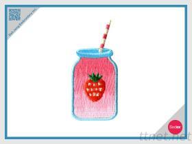 자수 헝겊 조각 - 딸기 스무디에 지팡이