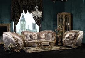 Sofá italiano clásico determinado del estilo del terciopelo de Elegent del sofá francés de la tela