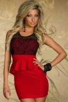 섹시한 여자 빨간 Clubwear와 Peplum 복장