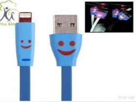 8 linee di carico del caricatore del cavo di dati del USB del fronte di sorriso di illuminazione di Pin 1M LED