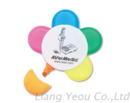 Non-toxic Promotional Flower Shape Highlighter can be customized LOGO