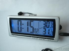 Orologio dell'automobile con il termometro di In/Out con la grande esposizione dell'affissione a cristalli liquidi della lampadina blu
