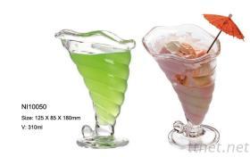 Tasse en verre de crème glacée glacée