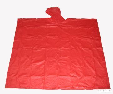red adult pvc rain poncho