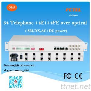 64Fxo Fxs + 4E1 Fiber Multiplexer