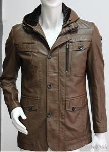 Classic Man PU Leather Hoody Jacket