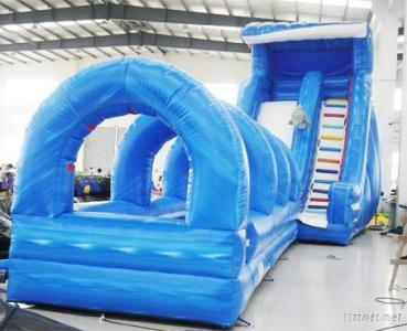 Giant Wave Inflatable Water Slide, Slip N Slide, Bouncing Slide With Pool