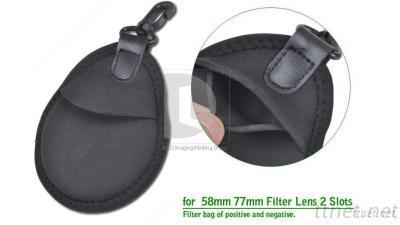 ENZE Lens Filter Protection Bag Wallet Case 2 Pockets For 25Mm - 82Mm Filters