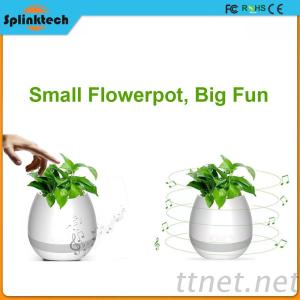 2017 New Arrival Green Plant Smart Touch Music Bluetooth Flowerpot Plastic Flower Pot With LED Light