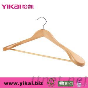 Wooden Coat Hanger With Wide Shoulders And Round Bar