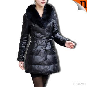 Women's Fashion Down Leather Coat