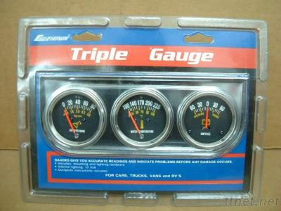 Triple Gauge Kit, Oil Press/Water Temp/Ammeter